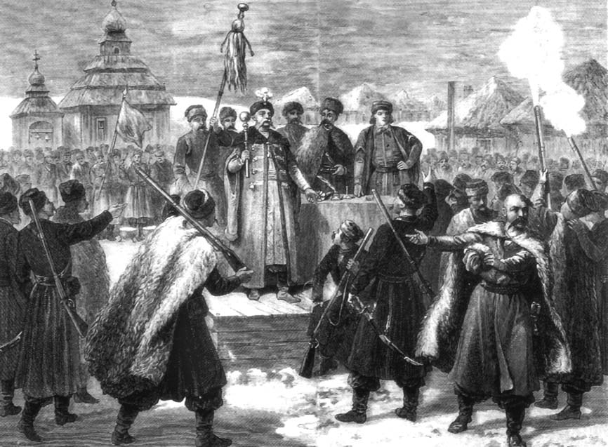 Вибори кошового отамана. Іл.: http://xn----7sbabirvo2ammddtcfe8b2a.xn--j1amh/articles/how-cossacks-greeted-the-new-year.html
